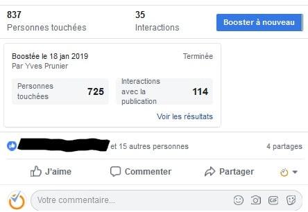 screenshot triche publicité facebook